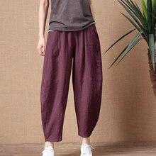 Vintage Trousers Pants Elastic-Waist Loose Retro Cotton Linen Plus-Size Women's Lady