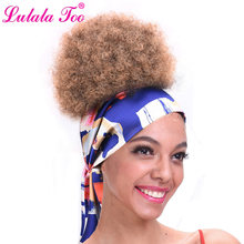 8 inch Short Afro Puff Hair Bun Drawstring Ponytail Synthetic Chignon Hairpiece For Women Kinky Curly Updo Clip in Extension(China)