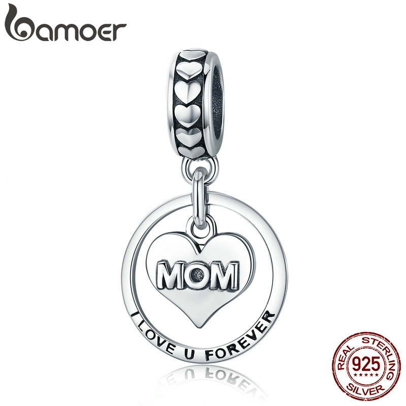 BAMOER 925 Sterling Silver I Love U Forever Mom Mother Engrave Beads Fit Charm Bracelets & Bangles Jewelry Mother Gift SCC649