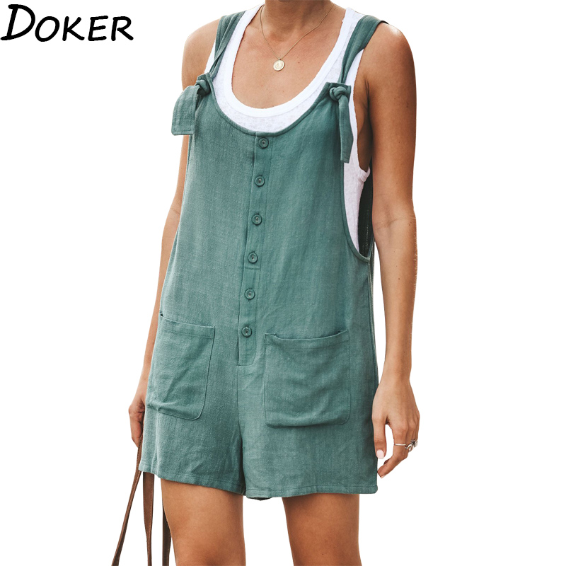 Summer  Romper Women Clothes Green Short Jumpsuit  Wide Leg Cotton And Linen Sleeveless Jumpsuit Vintage Female Casual Playsuit