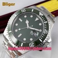 Bliger 43mm Miyota 8215 automatyczny męski zegarek zielony sterylny dial Luminous hands zielona ceramiczna ramka szkiełka zegarka szafirowe szkło 303 w Zegarki mechaniczne od Zegarki na