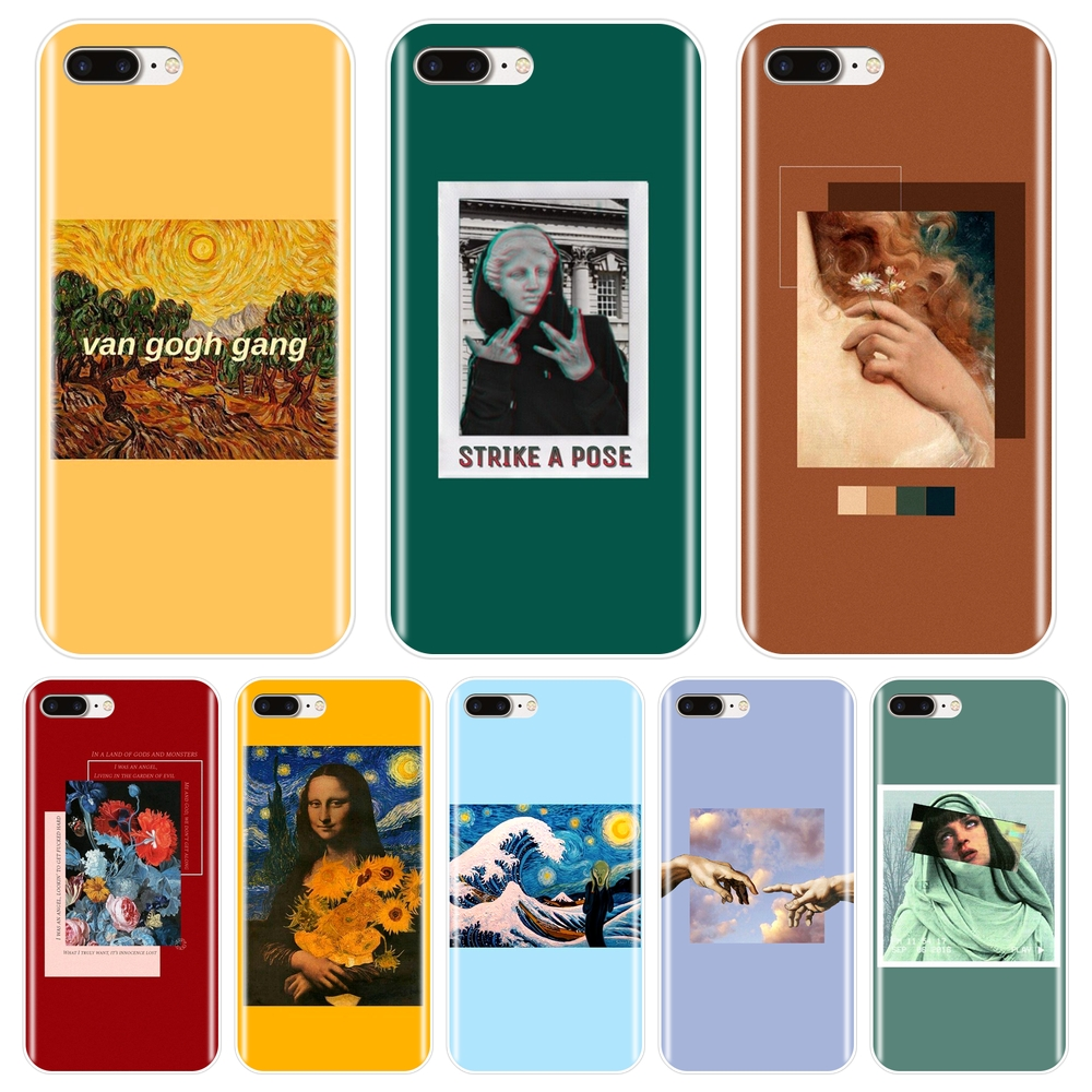 Phone Case For iPhone X XR XS MAX 8 7 6S 6 S Soft Silicone Yellow Van Gogh Red Art Back Cover For iPhone 8 7 6S 6 S Plus Case image