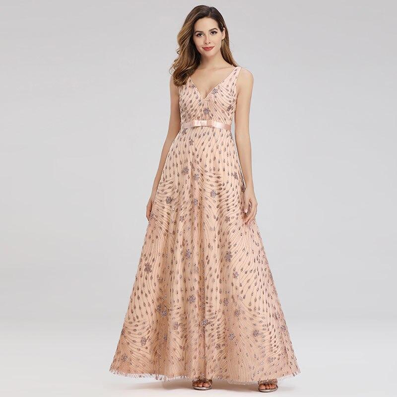 Dressv golden v neck evening dress sleeveless beading a line belt floor length zipper up wedding party formal evening dress