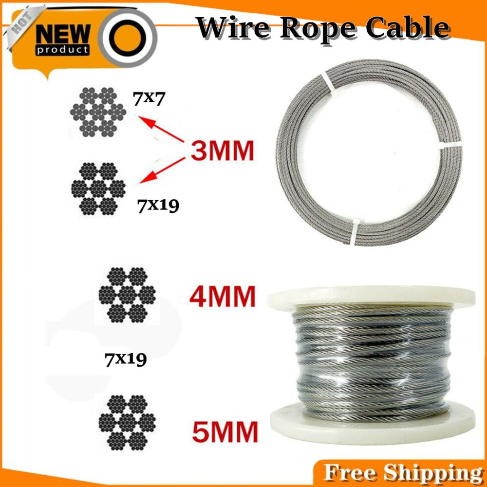 3mm/4mm/5mm Flexible Wire Rope Soft Fishing Lifting Cable Stainless Steel T316 Stainless Clothesline Diameter 7X7/7x19 30 Meters/Roll