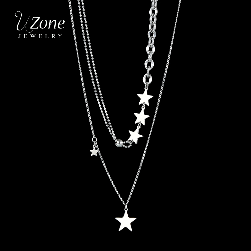 UZone модное ожерелье из нержавеющей стали, крошечная звезда, двухслойная цепочка, колье, ожерелья для женщин, девушек, ювелирное изделие, пода...