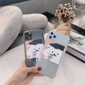 INS Corée mignon téléphone portable drôle photo couple ours téléphone pour iPhone 11 pro MAX Xs MAX Xr X 7 8 plus housse de PROTECTION arrière en TPU