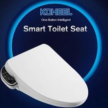 """KOHEEL Новое умное сиденье для унитаза с подсветкой Ручка одна кнопка wc Авто спа электронное биде теплый воздух нагревание """"умное"""" сиденье для унитаза"""