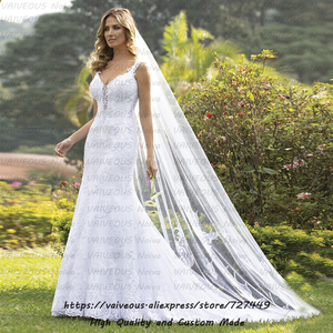 Image 1 - robe mariage Court Train Wedding Gown Vestido de Noiva 2020 Bride Dress Sexy Lace Mermaid Wedding Dress Vestido De Noiva Sereia