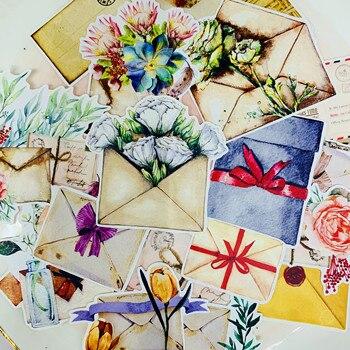 21 unids/pack Vintage correo sobre pegatina flor DIY Scrapbooking álbum diario planificador feliz pegatinas