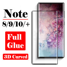 Vol Lijm Lijm Note 10 Pro Beschermende Glas Op Voor Samsung Note9 8 Screen Protector 3D Galaxy Note10 Plus Gehard glas Film(China)