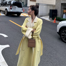 New Coming Pure Color Chic Sweet Cashmere Coat Warm Thick Outdoor High Quality Wool Autumn Winter Elegant Women