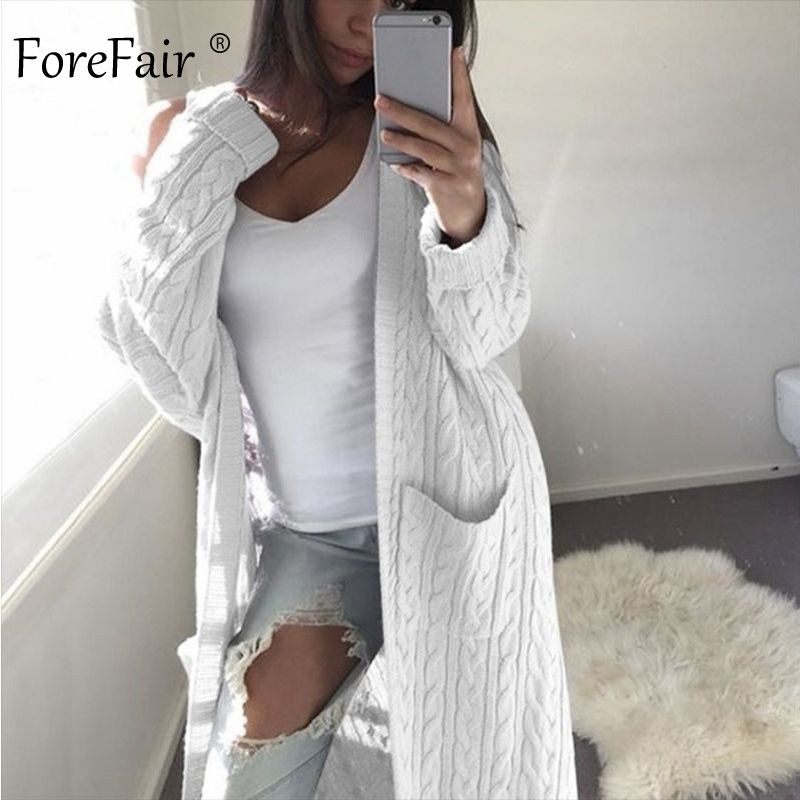 Forefair Casual Knitted Long Cardigan Woman Winter Autumn 2019 Sweaters Knit Black White Solid Plus Size Cardigan