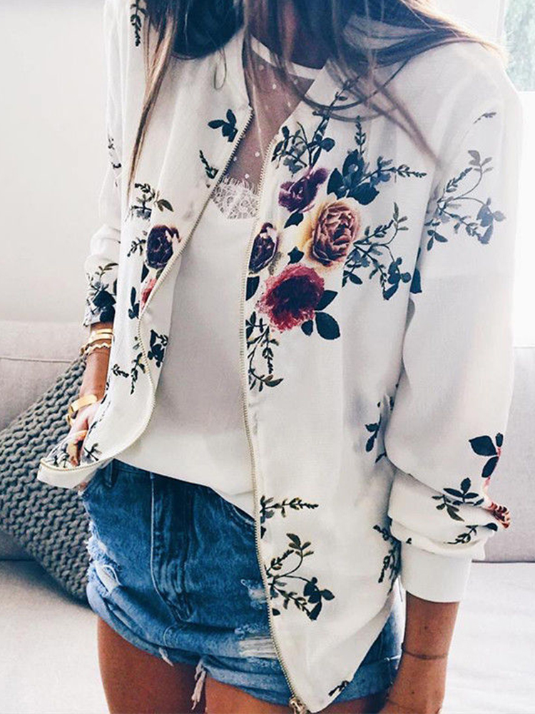 Women's Jacket Floral Printed Long Sleeve O Neck Tops Sweatshirt Spring Slim Womens Coats and Jackets Outwear Zipper Plus Size 3