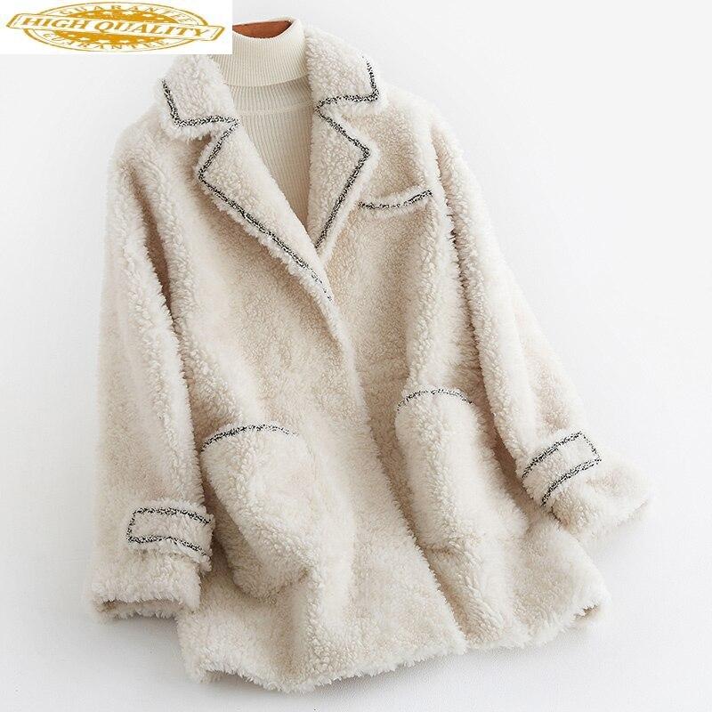 2020 New Women's Real Fur Coat Winter Sheep Shearing 100% Wool Fur Jacket Korean Real Fur Coats Female B19F36243 KJ3742