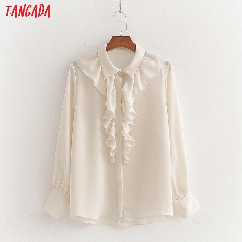 Tangada Women Ruffle White Shirts Long Sleeve Solid Turn Down Collar Elegant Office Ladies Work Wear Blouses 1D175