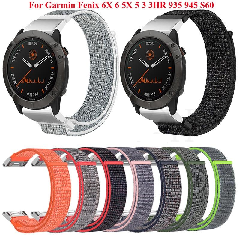 22 26mm Quick Release Nylon Watchband Strap for Garmin Fenix 6X 6 Pro Fenix 5X 5 3 3HR 935 945 Smart Watch