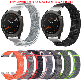 22 26mm Quick Release Nylon Watchband Strap for Garmin Fenix 6X 6 Pro Fenix 5X 5 3 3HR 935 945 Smart Watch