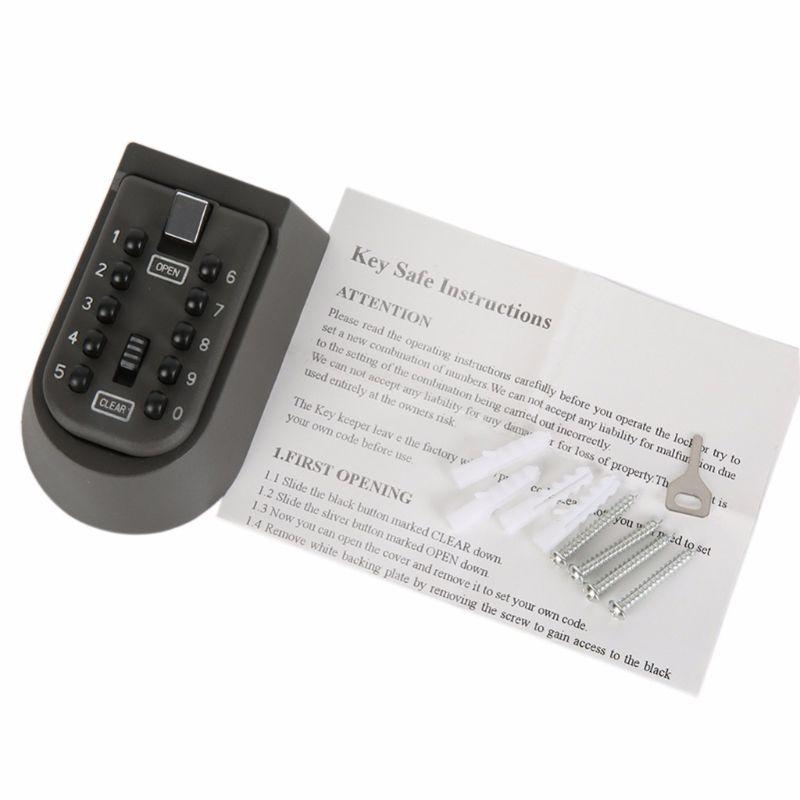 Купить с кэшбэком Outdoor Wall Mount Spare Key Safe Storage Box Waterproof Push Button Lock Holder M5TB