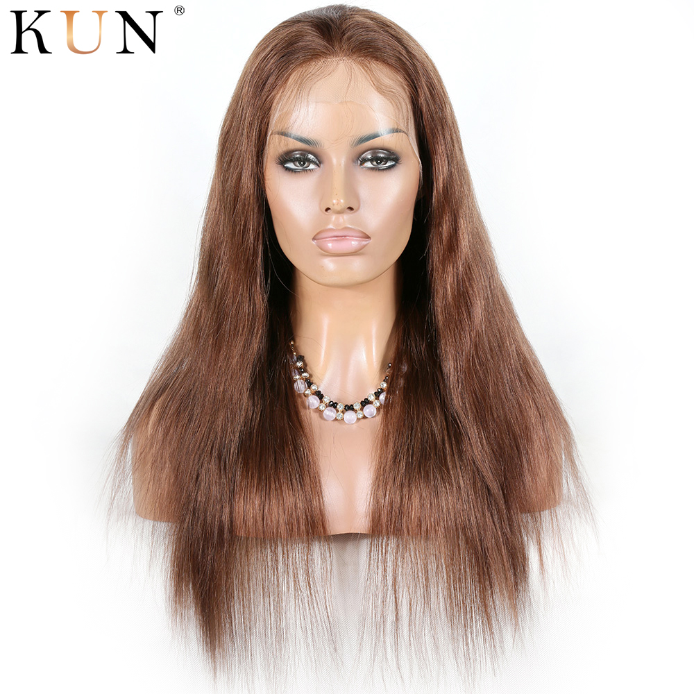 #6 Chestnut Brown Straight Ombre Human Hair Wig 13x4 13x6 Lace Front Human Hair Wigs Brazilian Remy 150% Density Lace Wig