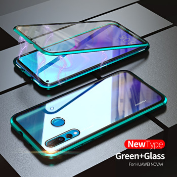 For Huawei P30 P20 Mate 20 X Pro Lite Honor 9X 10 20 i Note10 Play case 360 Magnetic Adsorption double-sided Tempered Glass Case