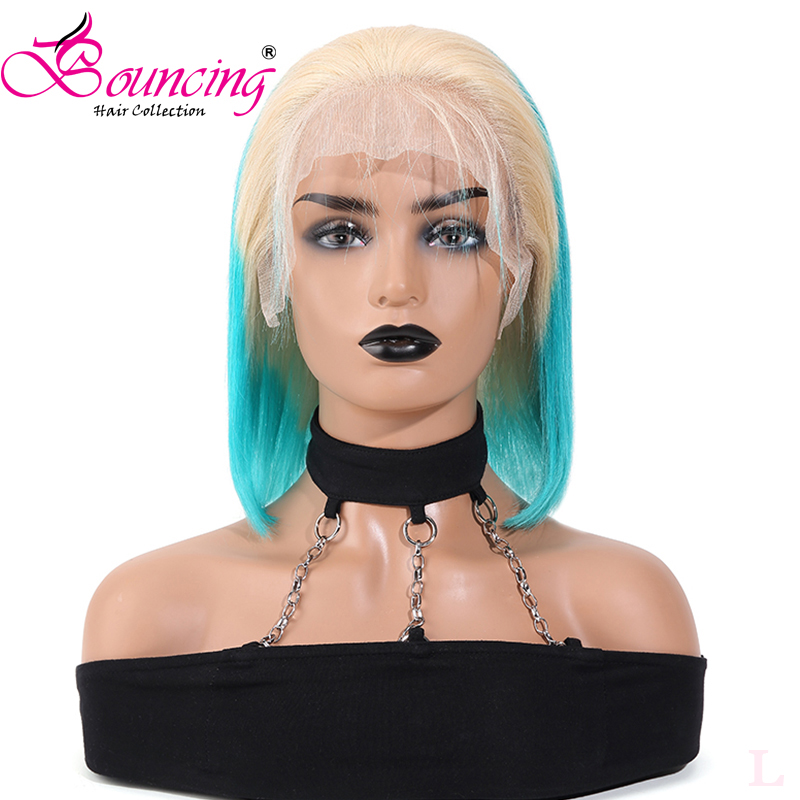 Bouncing Hair Straight Bob Wigs Ombre Color 613/blue 13*4 Lace Front 130 Density Pre-plucked Brazilian Human Remy Hair Low Ratio