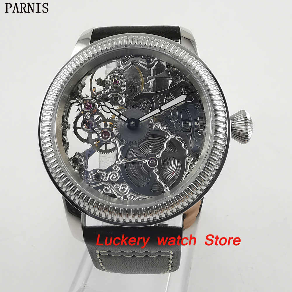 44mm parnis Hollow men's watch 17 jewels 6497 mechanical hand winding movement-PM27