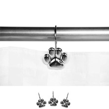 12Pcs Set Cat Footprint Decorative Shower Curtain Hooks Rust Proof Rings Hangers Home Bathroom Decorative Polished Chrome for Ro(China)