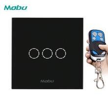 Mobu 3Gang 1-way remote control switch, EU/UK standard wall light touch used with control.