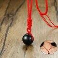 Vnox Natürliche Obsidian Gute Luck Perle Anhänger Einstellbare Länge Rot Seil Kette Choker Halsketten für Frau Bijoux