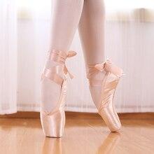 TIEJIAN profesyonel bale Pointe ayakkabı tuval saten pembe siyah kırmızı balerin ayakkabıları dans performansı için bale ayak pedi