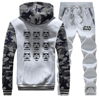 Star Wars Winter Men Hoodie Sweatshirts+Trousers Suit Hip Hop Funny Print Hoodies Mens Jacket+Pants 2 Piece Sets Warm Coat Sets