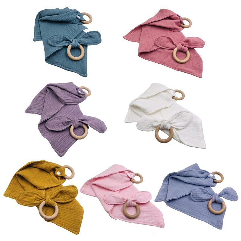 1Set Baby Cotton Bibs Beech Wooden Ring Pacifier Rabbit Ear Teether Saliva Towel GXMB