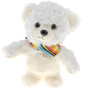 Cor branca falando & andando urso brinquedo de pelúcia, repita o que você diz, brinquedo enchido engraçado para crianças criança