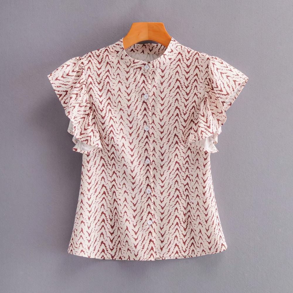 New 2020 Women Vintage Butterfly Sleeve Printing Casual Blouse Female O Neck Pleat Ruffles Shirts Chic Casual Blusas Tops LS6649
