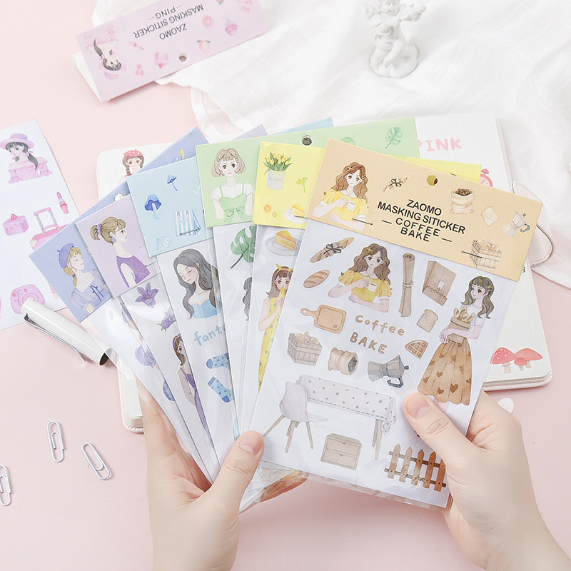 (1sheet/sell)Summer Color Series Diary Stickers Posted It Kawaii Planner Memo Scrapbooking Sticker Stationery Child Toy Stickers image
