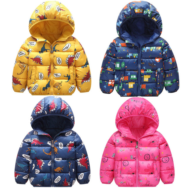Autumn Boys Down Jackets Hooded Outerwear Children Cartoon Warm Jacket Fashion Baby Kids Coat Clothes Girls Outerwear Jacket 1