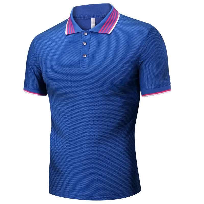 MEN'S Short Sleeve Polo Shirts 19 Summer Wear Viscose Quick-Dry Shirt Collar Tops Youth Casual Solid Color Men's T-shirt