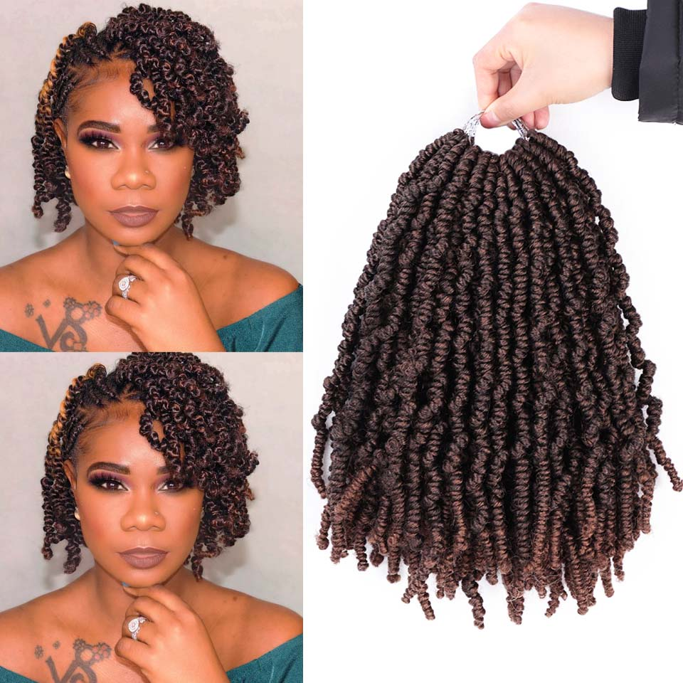 12Inch Spring Bomb Twists Pre Twisted Ombre Crochet Braids Fluffy Twist Pre-looped Braid Synthetic Braiding Hair Extensions