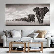Quadros elefantes da áfrica preta selvagem pintura tela escandinavia posteres e impressões quadros imagens de arte de parede para sala de estar