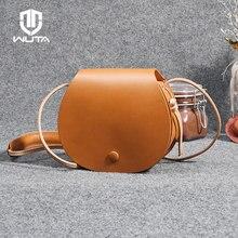 WUTA sebze tabaklanmış deri el yapımı kadın Crossbody çanta yüksek kaliteli Retro eyer çantalar Lady Messenger omuzdan askili çanta kahverengi
