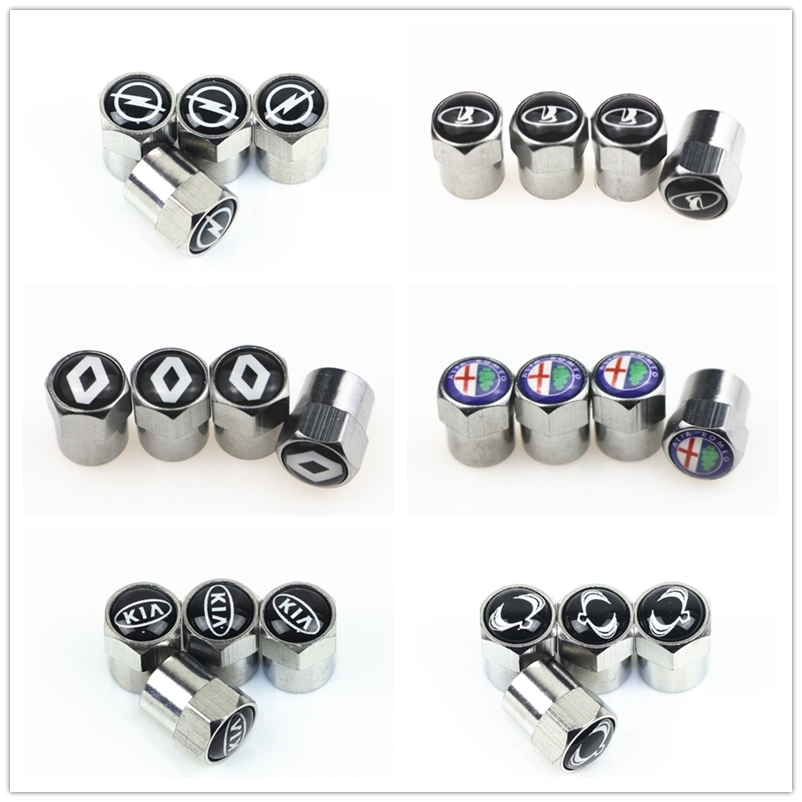 4pcs New Metal Wheel Tire Valve <font><b>Caps</b></font> For Volkswagen <font><b>VW</b></font> GOLF POLO TIGUAN TOYOTA Hyundai Chevrolet Saab FORD BMW AUDI <font><b>STICKERS</b></font> image