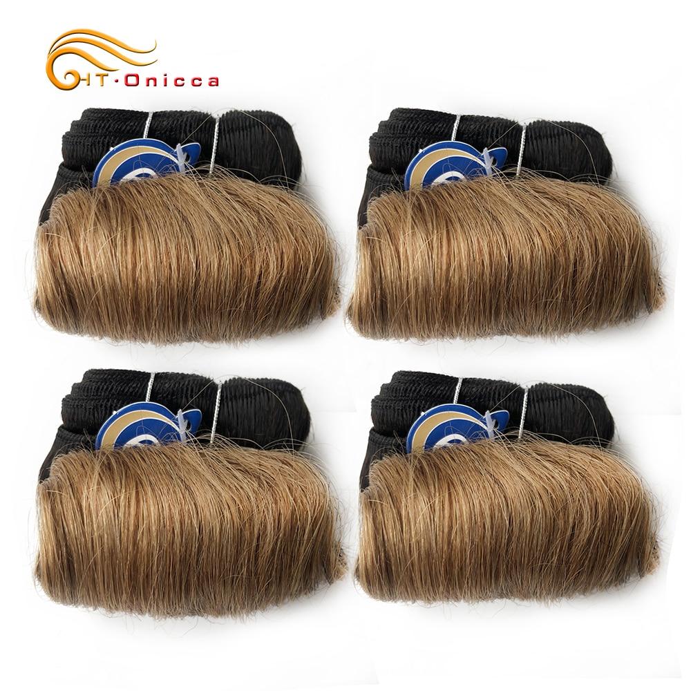 Curly Hair 4 Bundles Double Drawn  5 5 6 7 Inch  Hair  Bundles 1B 27 30 99J Color  4