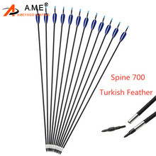 6/12pcs Archery Spine 700 Mix Carbon Arrows Turkish Feather Replaceable Arrowhead  For Outdoor Shooting Hunting Accessories
