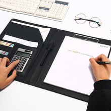 File Folder A4 With Calculator Multifunction File Paper Organizer Manager Document Pads Briefcase Padfolio Bag Business Supplies pu leather a4 padfolio multifunctional business folder tablet document file zipper manager holder organizer with calculator