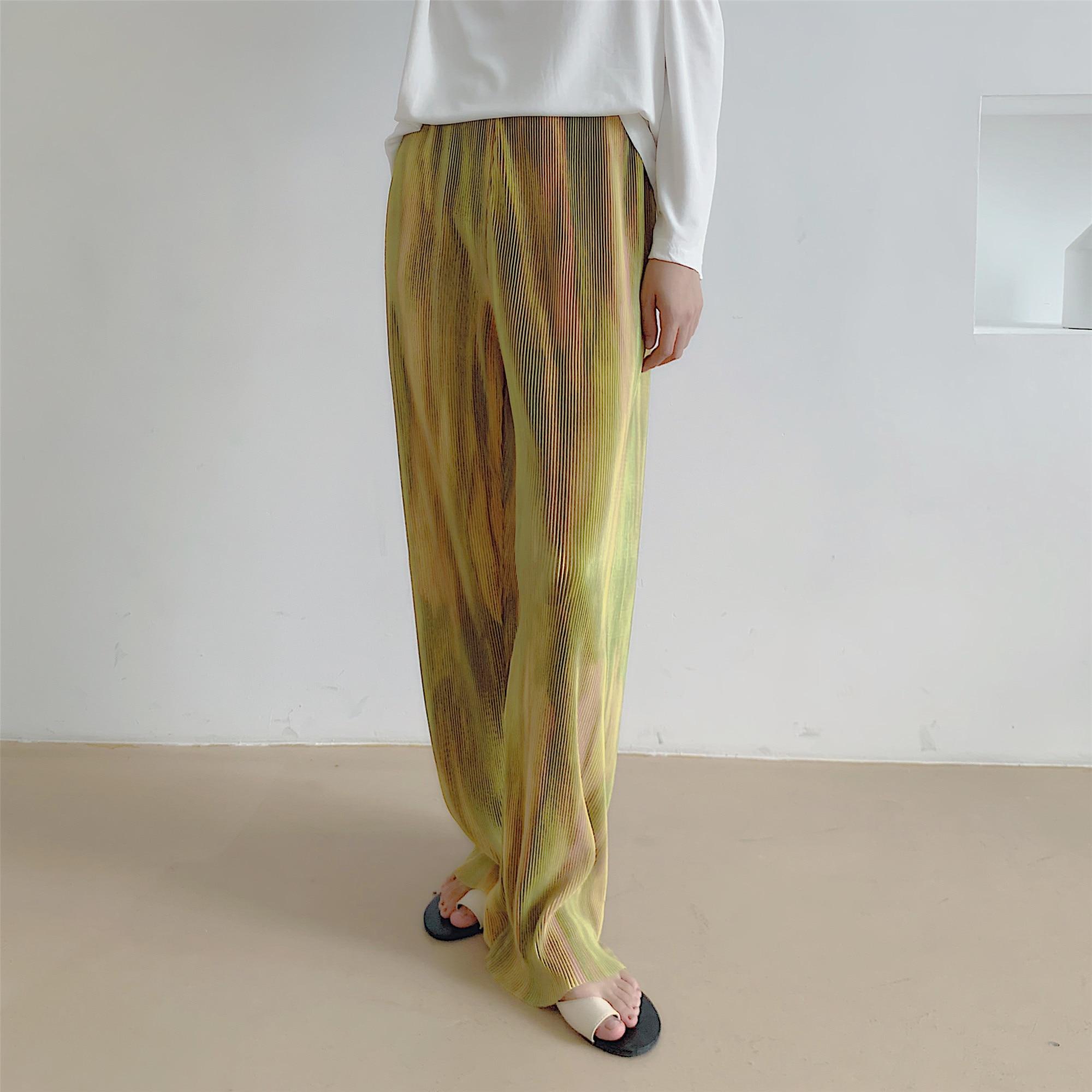 HziriP-pantalon droit à jambes larges pour femmes, pantalon de taille haute élastique, ample, nouvelle tendance, automne, 2020