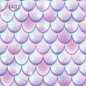 Image 5 - Laeacco fondos de fotografía de princesa sirenita, escamas de peces de arco iris, burbujas, Baby Shower, sesión fotográfica para recién nacido