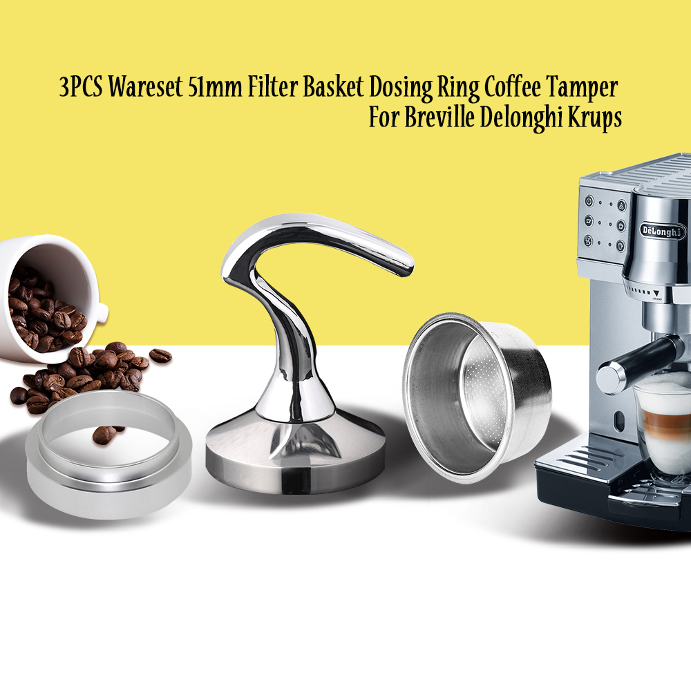 Breville Delonghi Filter Krups 51MM Filter Basket 2-Cup Coffee Tamper Dosing Ring Set Breville Coffeeware Birthday Gift 3PCS/set(China)