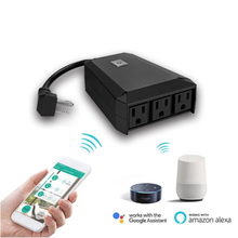 US Smart WiFi Outdoor Plug 3-Socket IP44 Waterproof Work With Alexa Google Assistant IFTTT App Remote Control In Garden qiachip us plug wifi smart home ip55 waterproof socket app remote control work with amazon alexa supported ifttt google timing