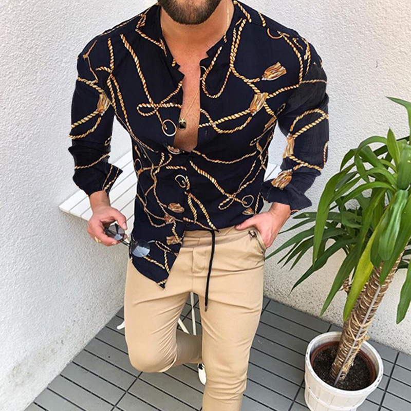 Autumn New Men Vintage Oversized Shirt Ethnic Printed Stand Collar Long Sleeve Shirts Hawaiian Striped Shirt Mens Moda Hombre