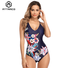 Attraco Women Monokini Swimsuit Swimwear One-piece Print Floral Sexy Cute Backcross Sling Bathing suit Breachwear все цены